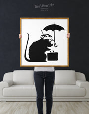 Framed Umbrella Suitcase Rat by Banksy Wall Art Canvas