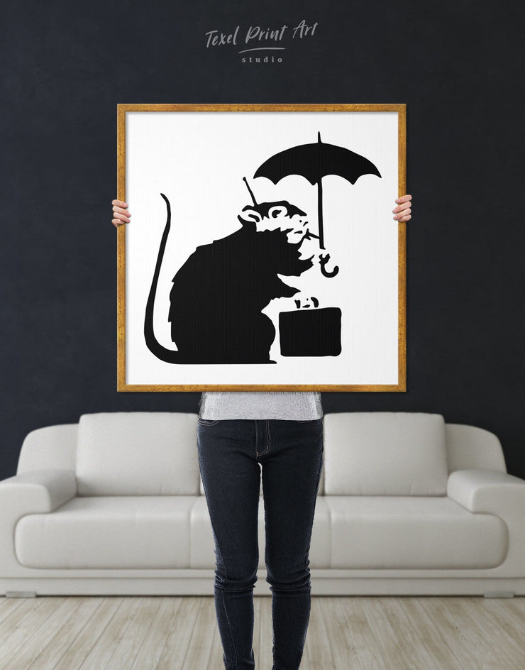 Framed Umbrella Suitcase Rat by Banksy Wall Art Canvas - Banksy banksy wall art Black black and white wall art Contemporary