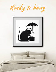 Framed Umbrella Suitcase Rat by Banksy Wall Art Print