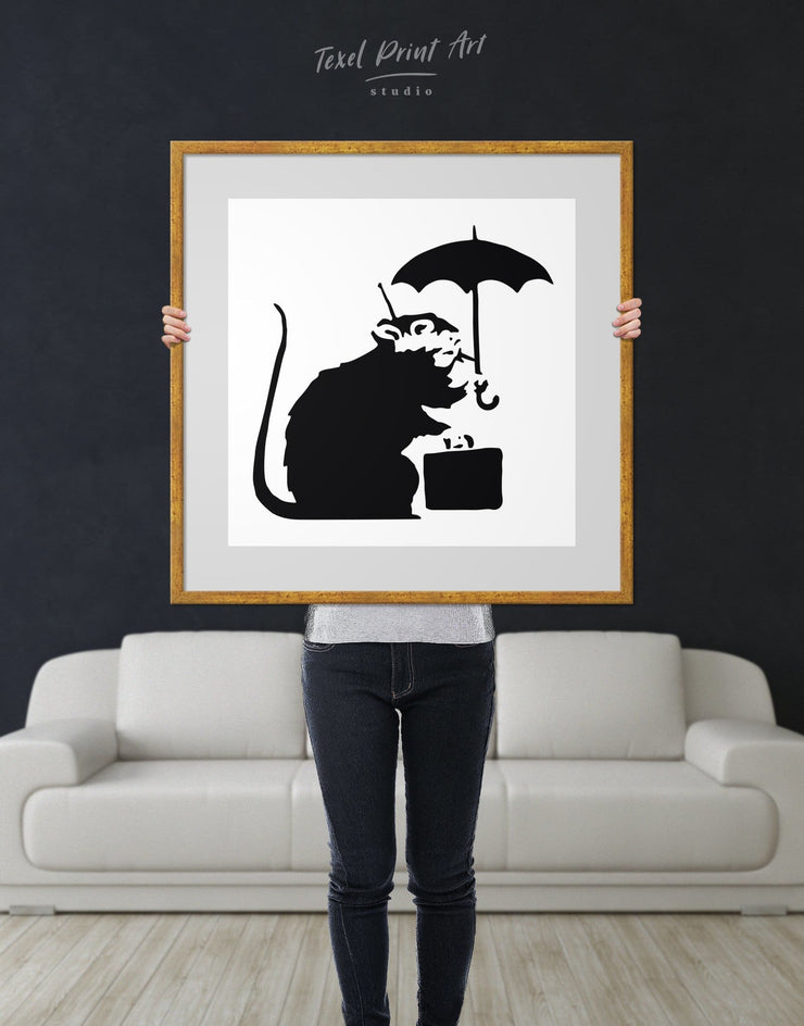 Framed Umbrella Suitcase Rat by Banksy Wall Art Print - Banksy banksy wall art Black black and white wall art Contemporary