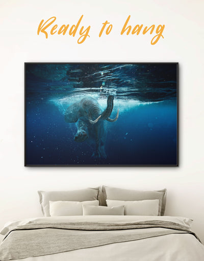 Framed Underwater Elephant Wall Art Canvas - Animal Animals bedroom Blue blue wall art for bedroom
