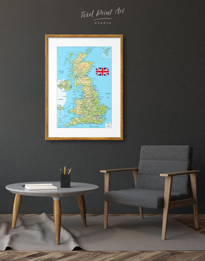 Framed United Kingdom of Great Britain Map Wall Art Print - Blue blue and green wall art Country Map framed map wall art framed print