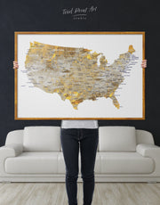 Framed United States Golden Map Wall Art Canvas