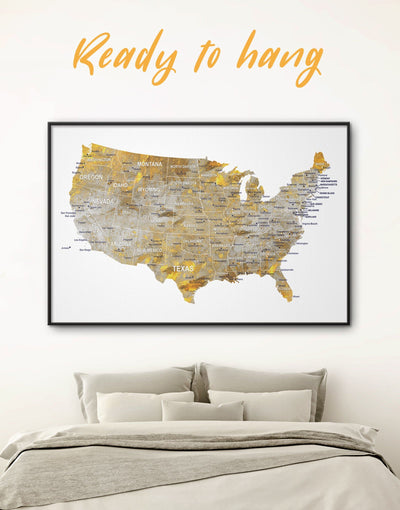 Framed United States Golden Map Wall Art Canvas - bedroom contemporary wall art corkboard Country Map framed