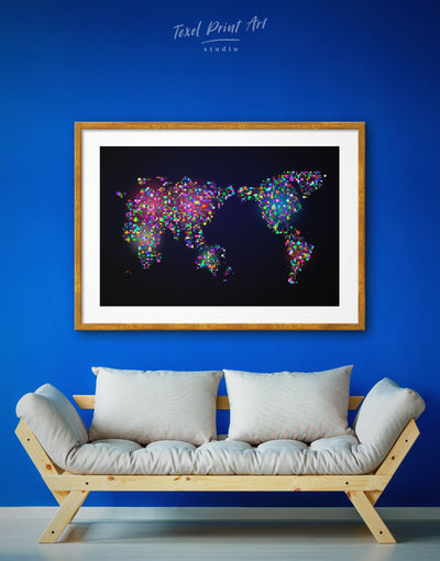 Framed Unusual Abstract Map Wall Art Print - Abstract map bedroom black framed print framed world map print