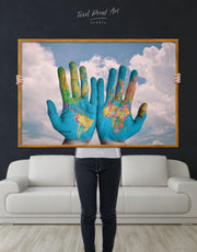 Framed Unusual World Map Wall Art Canvas