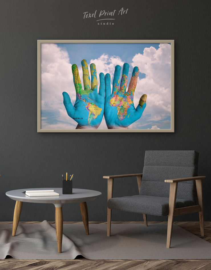 Framed Unusual World Map Wall Art Canvas - Canvas Wall Art Blue Contemporary framed canvas Hallway Living Room