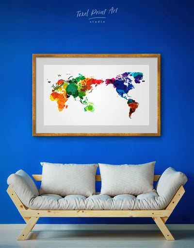 Framed Unusual World Map Wall Art Print - Abstract map black framed map wall art framed print framed world map print