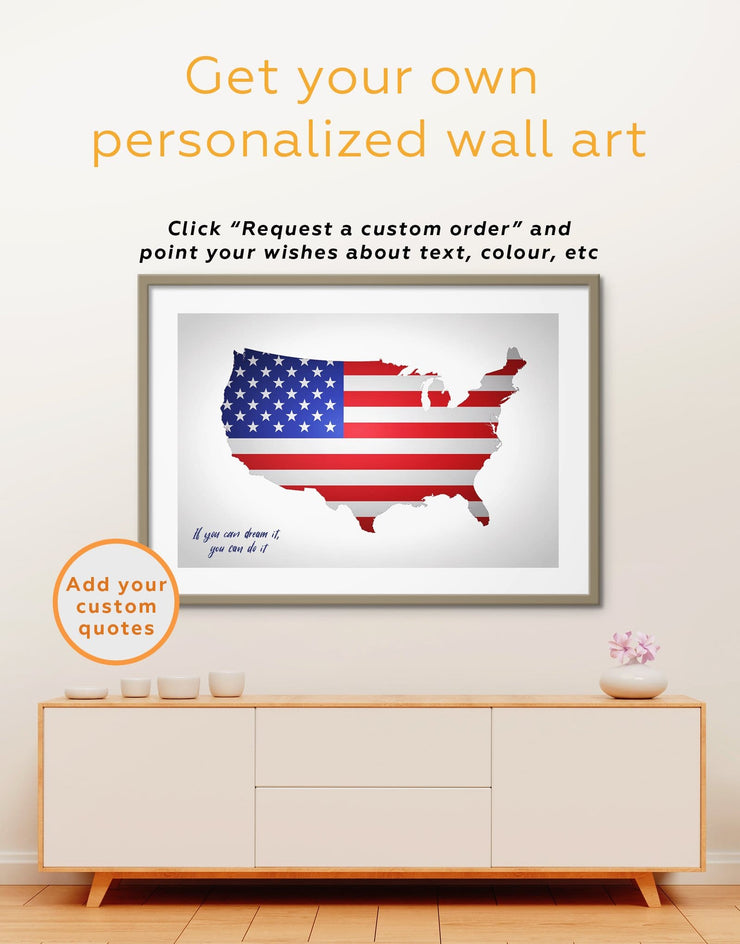 Framed US Map and Flag Wall Art Print - bedroom Country Map Country Wall Art for Living Room Flag Wall Art framed map wall art
