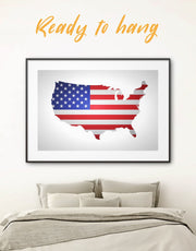Framed US Map and Flag Wall Art Print