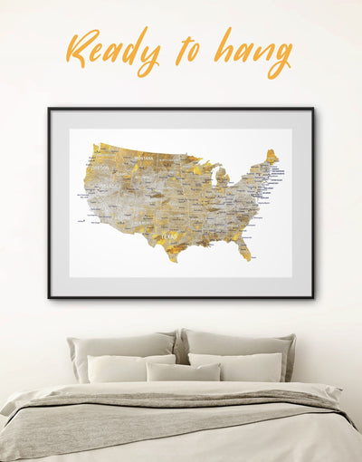 Framed US Map Wall Art Print - bedroom black and grey wall art contemporary wall art Country Map framed print