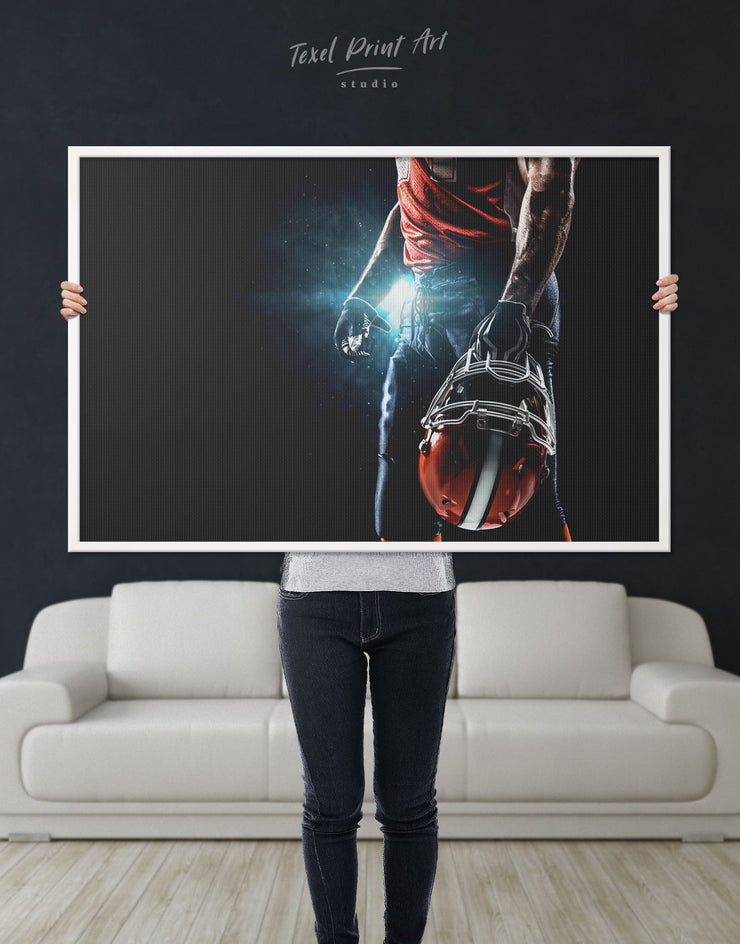 Framed USA Football Wall Art Canvas - bachelor pad bedroom Black Blue Football Wall Art