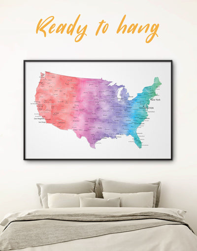 Framed USA Map Wall Art Canvas - bedroom Blue blue and white contemporary wall art corkboard