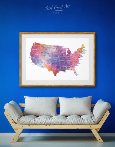 Framed USA Map Wall Art Print - bedroom contemporary wall art Country Map framed print Hallway
