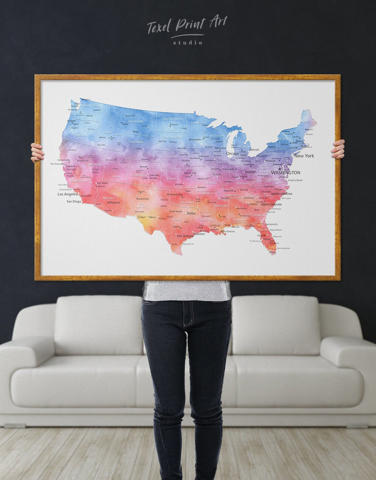 Framed USA Travel Map Wall Art Canvas - bedroom Blue blue and white contemporary wall art corkboard