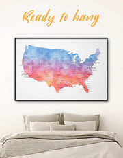 Framed USA Travel Map Wall Art Canvas