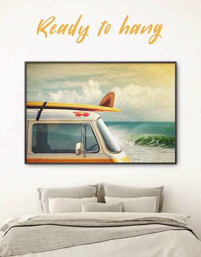 Framed Van by the Seaside Wall Art Canvas - Beach House beach wall art bedroom Car coastal wall art