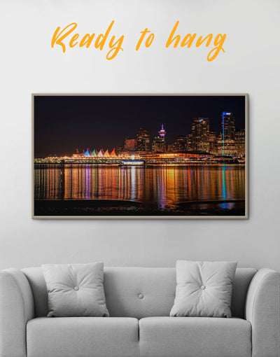 Framed Vancouver Skyline Canvas Wall Art - Canvas Wall Art bedroom City Skyline Wall Art Cityscape Dining room framed canvas