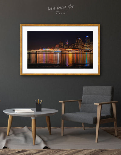 Framed Vancouver Skyline Print Wall Art - Wall Art bedroom City Skyline Wall Art Cityscape Dining room framed print