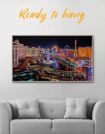 Framed Vegas Skyline Canvas Wall Art - Canvas Wall Art bedroom City Skyline Wall Art Cityscape Dining room framed canvas