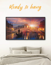 Framed Venice Cityscape at Sunset Wall Art Canvas