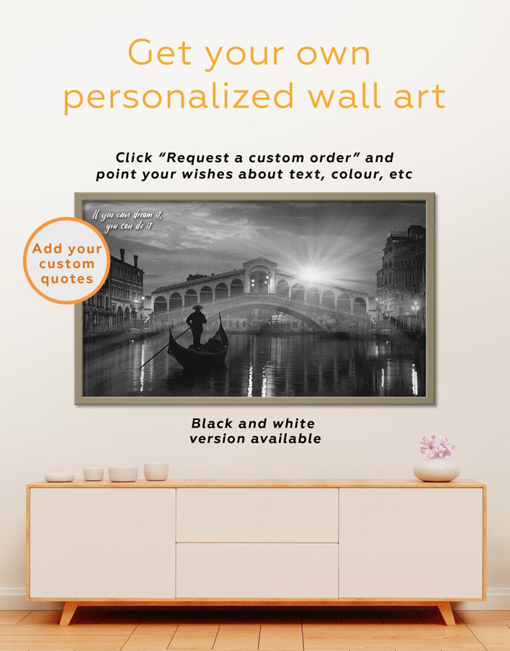 Framed Venice Cityscape at Sunset Wall Art Canvas - bedroom City Skyline Wall Art Cityscape framed canvas framed wall art