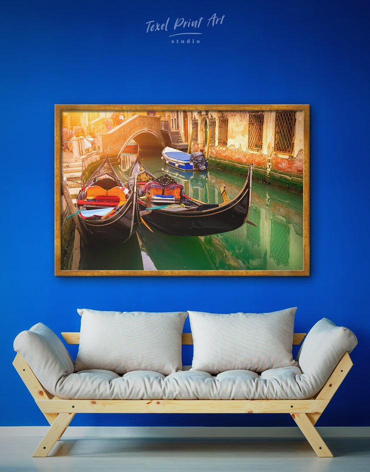 Framed Venice Gondola Wall Art Canvas - bedroom Dining room dining room wall art framed canvas framed wall art