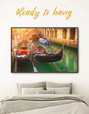 Framed Venice Gondola Wall Art Canvas