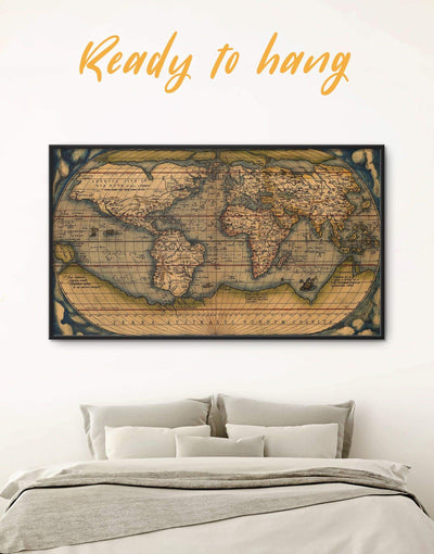 Framed Vintage Map Wall Art Canvas - Antique world map canvas bedroom Brown framed canvas framed map wall art