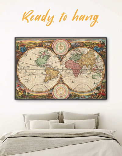 Framed Vintage Map Wall Art Canvas - Antique world map canvas framed canvas Library Living Room old world map wall art