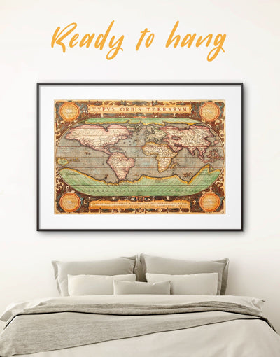 Framed Vintage Map Wall Art Print - Antique Antique world map canvas bedroom Brown framed print