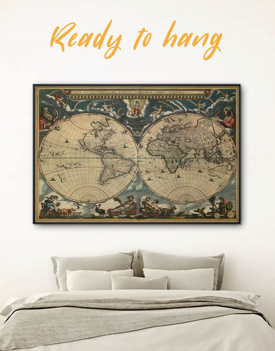 Framed Vintage Old World Map Wall Art Canvas - Antique Antique world map canvas bedroom Brown double hemisphere world map