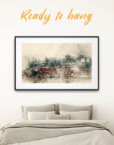 Framed Vintage Train Wall Art Print - bedroom framed print framed wall art Hallway Living Room