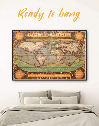 Framed Vintage World Map Wall Art Canvas - Antique Antique world map canvas bedroom Brown framed canvas