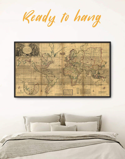 Framed Vintage World Map Wall Art Canvas - Antique world map canvas bedroom Brown framed canvas framed world map canvas