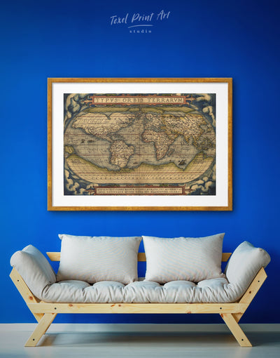 Framed Vintage World Map Wall Art Print - Antique Antique world map canvas bedroom framed map wall art framed print