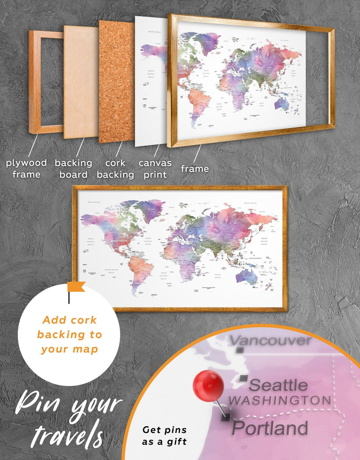 Framed Violet Watercolor World Map Wall Art Canvas - Contemporary contemporary wall art corkboard framed canvas framed map wall art