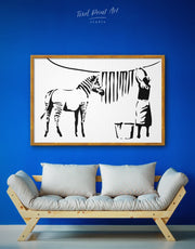 Framed Washing Zebra Stripes by Banksy Wall Art Canvas