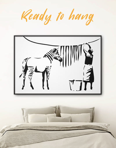 Framed Washing Zebra Stripes by Banksy Wall Art Canvas - banksy Banksy wall art black black and white wall art Contemporary