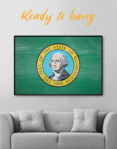 Framed Washington State Flag Wall Art Canvas - flag wall art framed canvas green Hallway Living Room