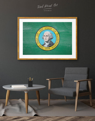 Framed Washington State Flag Wall Art Print - flag wall art framed print green Hallway Living Room