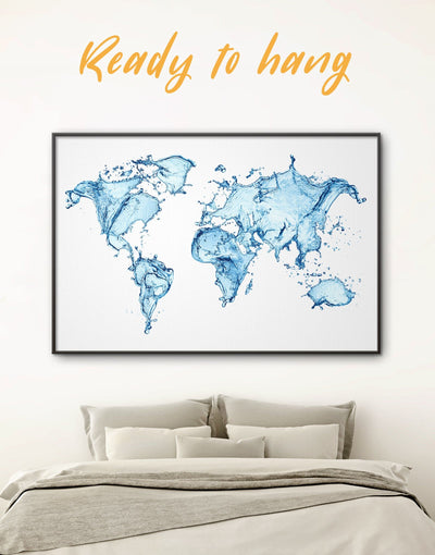 Framed Water World Map Wall Art Canvas - Abstract Abstract map abstract world map wall art aqua wall art bedroom