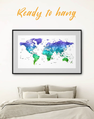 Framed Watercolor Blue and Green Map Wall Art Print - bedroom Blue blue wall art for bedroom Blue wall art for living room framed map wall