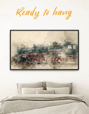 Framed Watercolor Locomotive Wall Art Canvas
