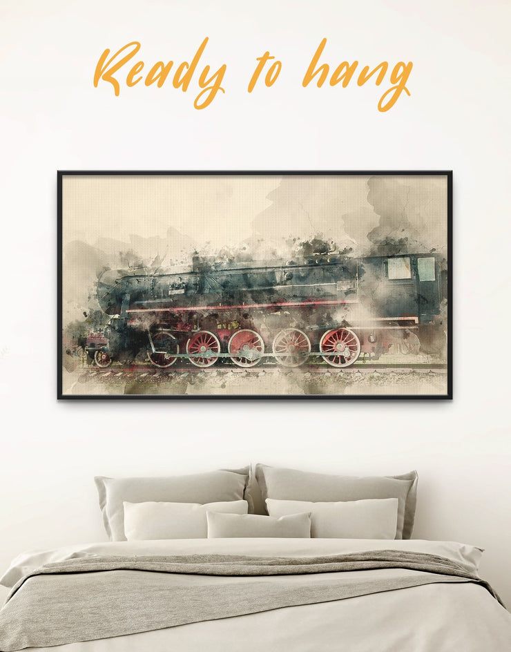 Framed Watercolor Locomotive Wall Art Canvas - bedroom framed canvas framed wall art Hallway Living Room