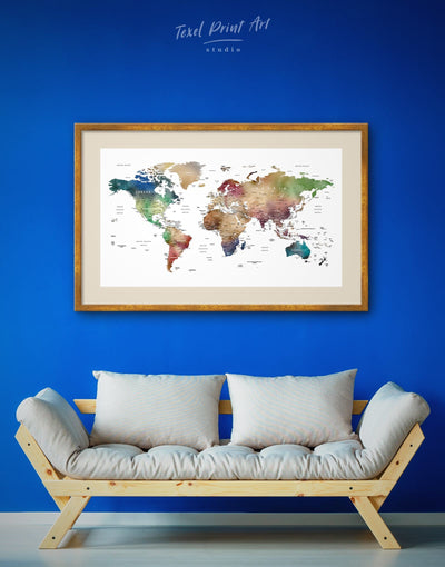 Framed Watercolor Map of The World Wall Art Print - bedroom brown contemporary wall art framed framed map wall art