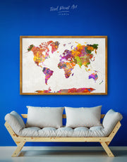 Framed Watercolor Map Wall Art Canvas