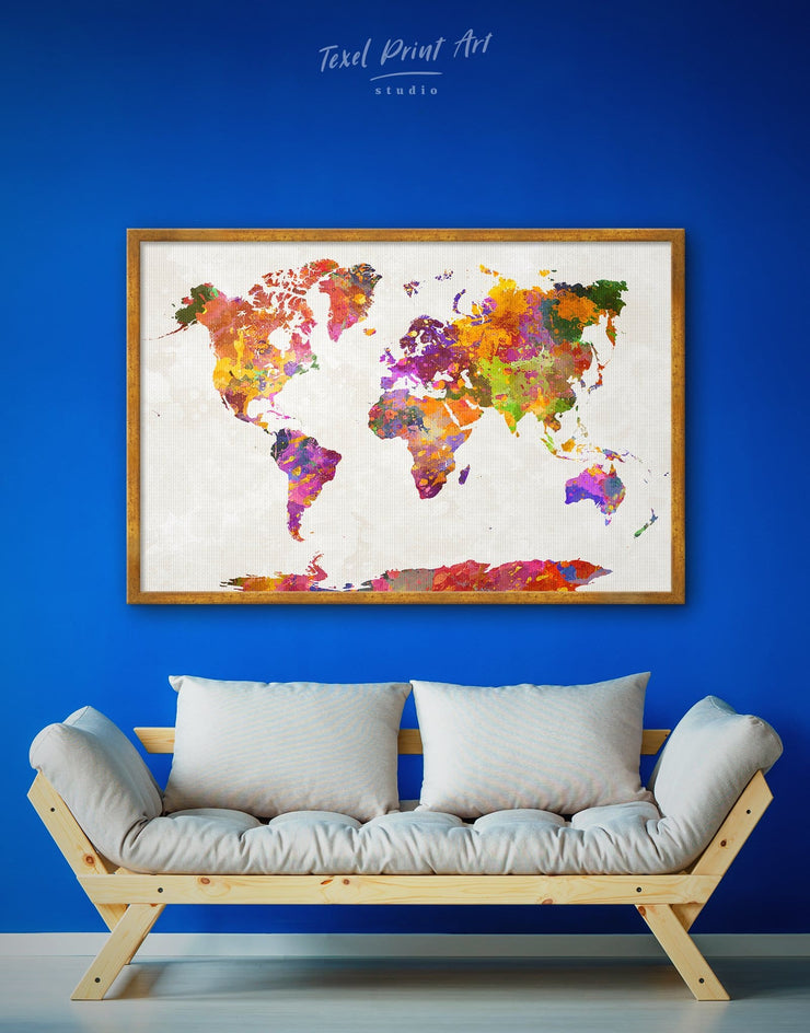 Framed Watercolor Map Wall Art Canvas - Abstract Abstract map abstract world map wall art bedroom Contemporary