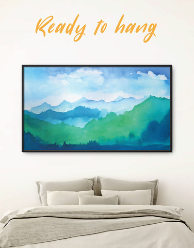 Framed Watercolor Mountains Wall Art Canvas - bedroom blue and green wall art framed canvas framed wall art landscape wall art