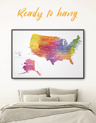 Framed Watercolor US Travel Map Wall Art Canvas - bedroom Dining room framed framed canvas framed world map canvas